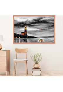 Quadro Love Decor Com Moldura Cloudy Day Rose Metalizado Médio