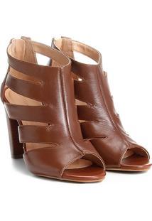 Sandália Couro Shoestock Salto Grosso Recortes Feminina - Feminino-Caramelo