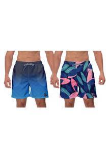 Kit 2 Shorts Modo Praia Azul Floral Estampado Ajustável Caminhada Esporte Água Banho W2