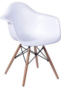 Poltrona Eames Dar- Branca & Madeira Clara- 82X62X44Or Design