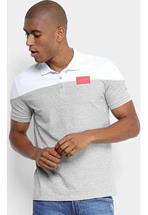 Camisa Polo Calvin Klein Bicolor Etiqueta Peito Masculina - Masculino-Branco