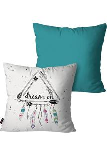 Kit Com 2 Capas Para Almofadas Pump Up Decorativas Turquesa Dreams 45X45Cm