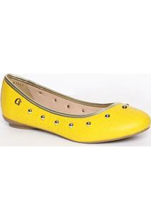 Sapatilha Em Couro Com Rebites- Amarela & Douradacarmen Steffens