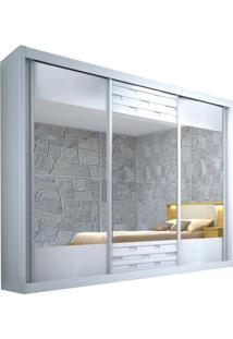 Guarda-Roupa Sensação Com Espelho - 3 Portas - 100% Mdf - Branco