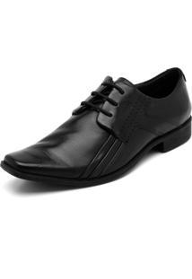 Sapato Social Couro Ferracini Pespontos Preto