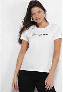 Camiseta Tommy Jeans Logo Feminina - Feminino-Branco