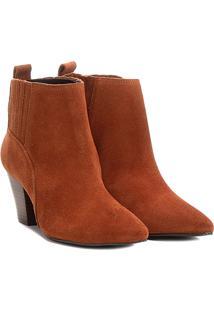 Bota Couro Chelsea Shoestock Salto Grosso Feminina - Feminino-Marrom
