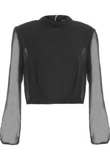 Blusa Feminina Cropped Diana - Preto