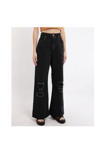 Calça De Sarja Feminina Wide Pantalona Cintura Super Alta Destroyed Preta