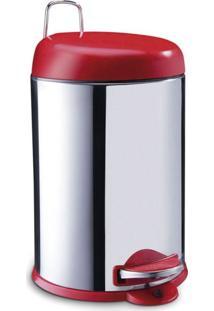 Lixeira Inox C/Pedal 12L-Tampa Vermelha Vermelho Brinox