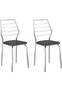 Conjunto 2 Cadeiras 1716 Casual Tecido Fantasia Pretro Metalizadoo Cromado
