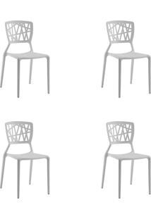 Kit 04 Cadeiras Melissa Branca Rivatti