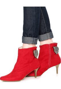 Bota Dafiti Shoes Pedraria Vermelha