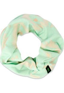 Lenço Redondo Abstrato- Verde Claro & Bege- Ø11X5Cm