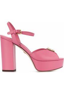 Dolce & Gabbana Sandália Plataforma Com Placa De Logo - Rosa