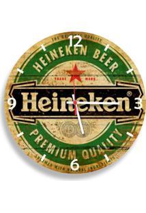 Relógio De Parede Decorativo Heineken Pátina 35Cm Médio