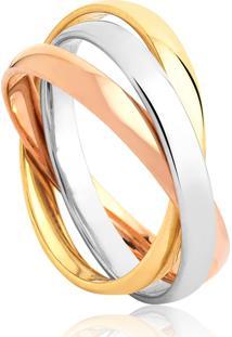 Aliança De Ouro 18K Cartier 3 Aros Entrelaçadas,Branco,Rosê E Amarelo (2,80Mm)