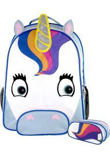 Kit 5 Unicórnio Mumagi Mochila Escolar E Estojo Branco