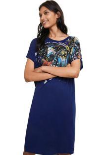Vestido Longo Desigual Azul