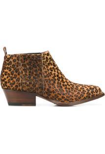 Buttero Ankle Boot Animal Print Com Salto - Marrom