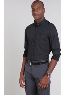 Camisa Masculina Comfort Estampada Mini Print Com Bolso Manga Longa Preta