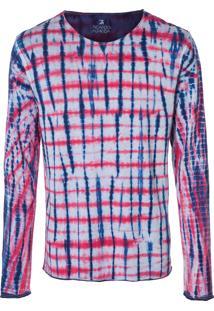 Camiseta Masculina Tie Dye Xadrez - Azul