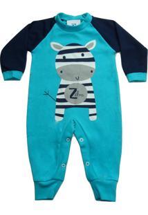 Macacão Roupas Bebe Recem Nascido Enxoval Batizado Manabana Azul