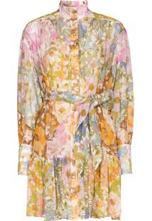 Zimmermann Vestido Com Cinto E Estampa Floral - Rosa