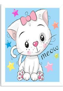 Quadro Decorativo Infantil Gatinho Meow Branco - Médio