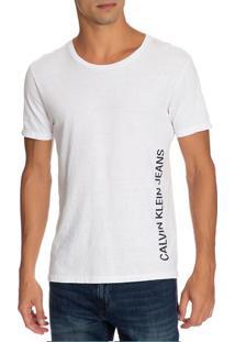 Camiseta Ckj Mc Est Logo Lateral - Branco - Pp