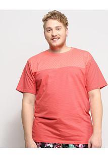 Camiseta Gajang Estampada Plus Size Masculina - Masculino-Coral