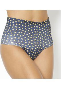 Calcinha Hot Pant Dupla Face- Azul Marinho & Amarelo Escuv Line