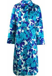 Richard Quinn Sobretudo Floral Acinturado - Azul