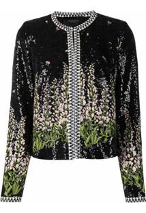 Giambattista Valli Floral-Embroidered Sequin Jacket - Preto