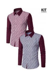 Kit 2 Camisas Masculinas Slim Duas Cores - Vinho E Azul Escura