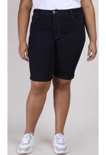 Bermuda Jeans Feminina Ciclista Plus Size Com Bolso Cintura Alta Azul Escuro