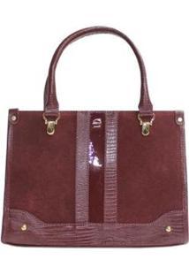 Bolsa Handbag Couro Verniz Com Suede Le Postiche Feminina - Feminino-Vinho