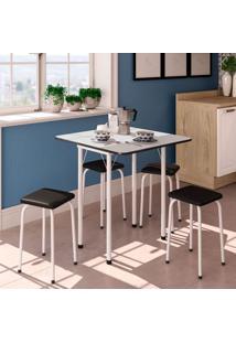 Conjunto De Mesa De Cozinha Dobrável Com 4 Lugares Asti Corino Branco E Preto