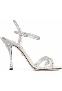 Dolce & Gabbana Sandália Com Aplicação De Strass - Prateado