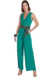 Macacão Maria.Valentina Pantalona Com Bolso Feminino - Feminino-Verde