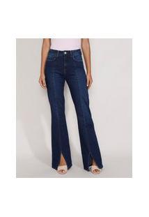 Calça Jeans Feminina Flare Cintura Super Alta Com Fenda Azul Escuro