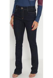 Jeans Boot Cut High- Azul Escuro- Ennaenna