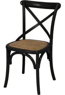 Cadeira Katrina Preta Laqueada Com Assento Rattan - 30748 Sun House
