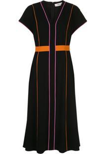 Dvf Diane Von Furstenberg Contrast Piped Dress - Preto