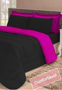 Kit 6 Pã§S Colcha Casal Queen Dupla Face Preto E Pink Cotex - Multicolorido - Dafiti