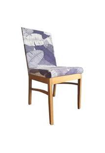 Capa Para Cadeira De Jantar Ajustável - Folhagens Em Tons Azuis