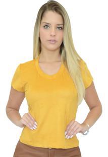 T-Shirt Mamorena Suede Com Recortes Mostarda