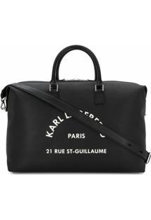 Karl Lagerfeld Bolsa Tote Weekender Com Estampa De Logo - Preto