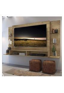 "Painel Tv 60"" C/ Prateleiras De Vidro Nairóbi Multimóveis Rustic"