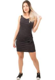 Vestido Bella Fiore Listrado Casual - Feminino-Preto